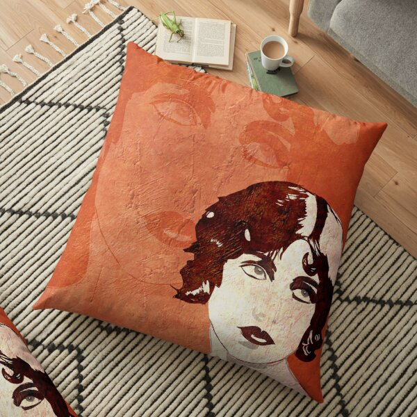 Bored Looking Woman Painting Floor Pillow