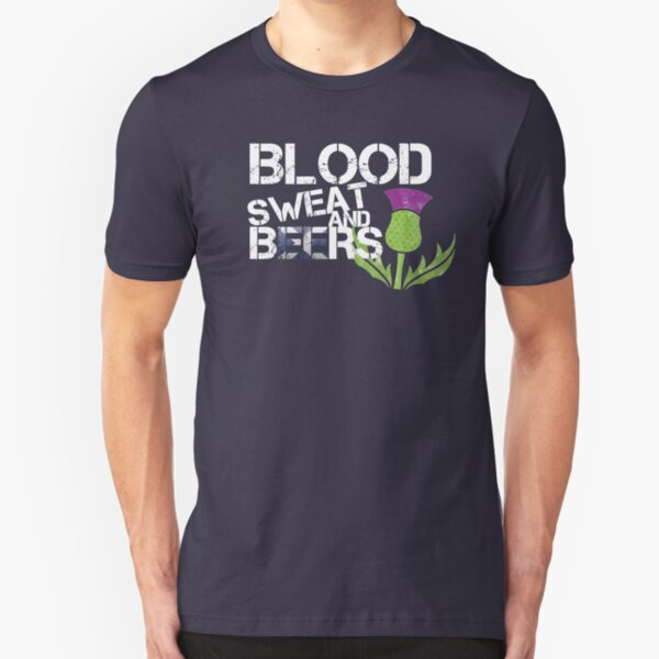 Scotland Flag Rugby Six Nations Blood Sweat Beers Scottish Thistle Graphic Design Slim Fit T-Shirt