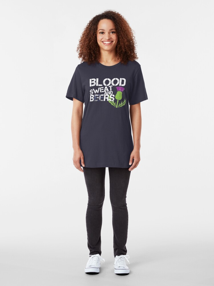 Alternate view of Blood Sweat Beers Scotland Flag Rugby Six Nations Slim Fit T-Shirt