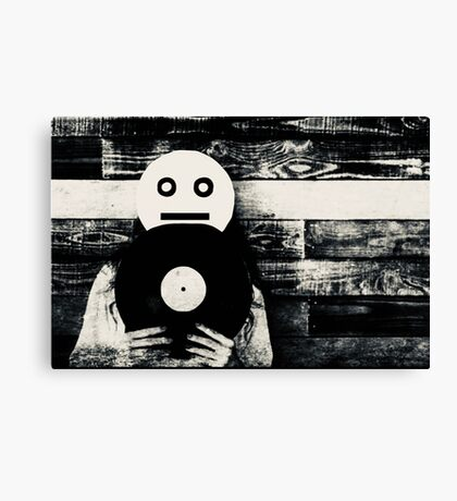 Smiley with Record Photo Collage Canvas Print