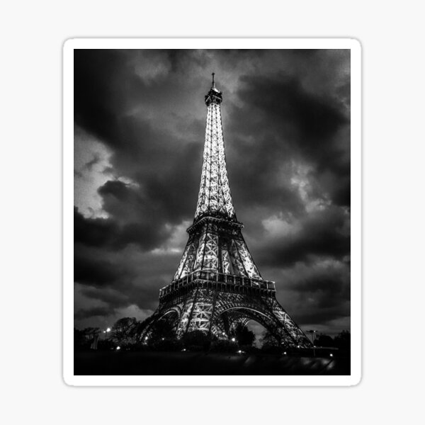 The Eiffel Tower under storm clouds in black and white! Sticker