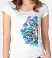 Stained glass effect Flower inked water Doodle Women's Fitted Scoop T-Shirt