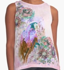 Parrot on floral Design - rose wash Sleeveless Top