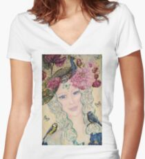 nature spirit -close up Women's Fitted V-Neck T-Shirt