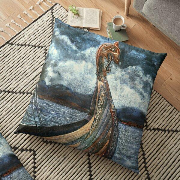 Drakkar In the fjord Floor Pillow