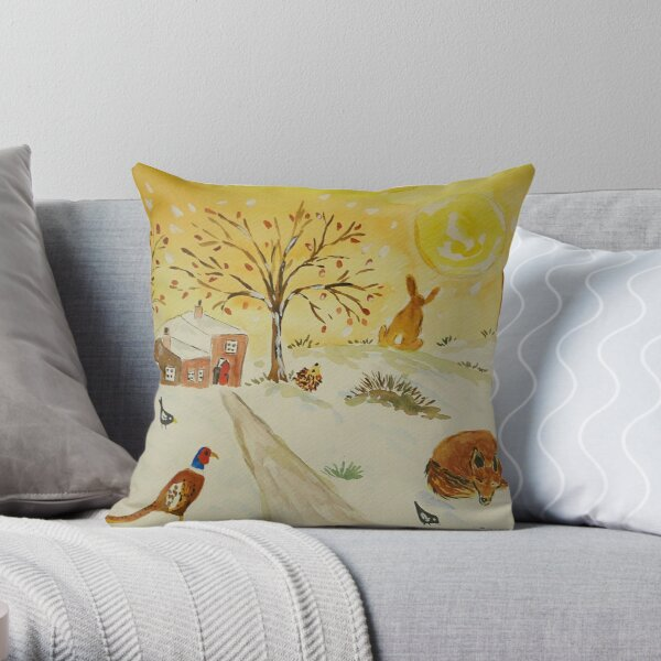 Fox, Hares and a Pheasant in the Snow and Sun Throw Pillow