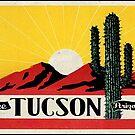 Tucson Arizona Vintage Style Cactus Mountains Travel by MyHandmadeSigns