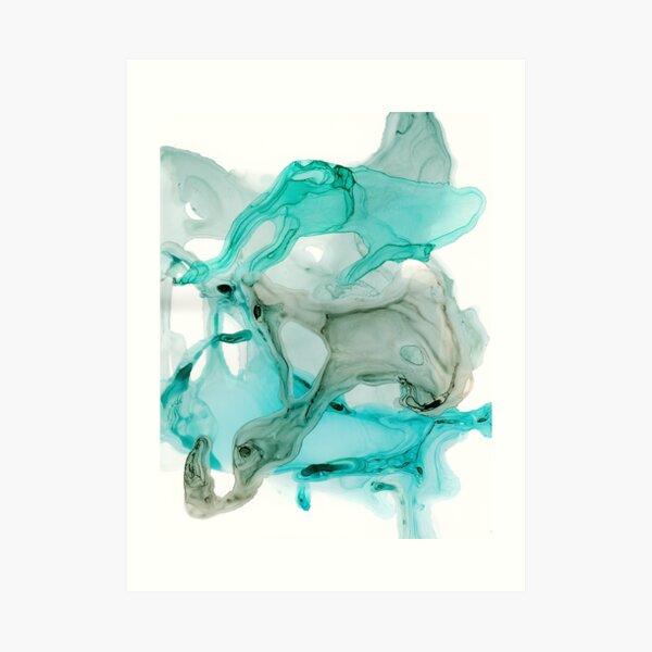Aqua Life, Turquoise Ink Abstract Art Print