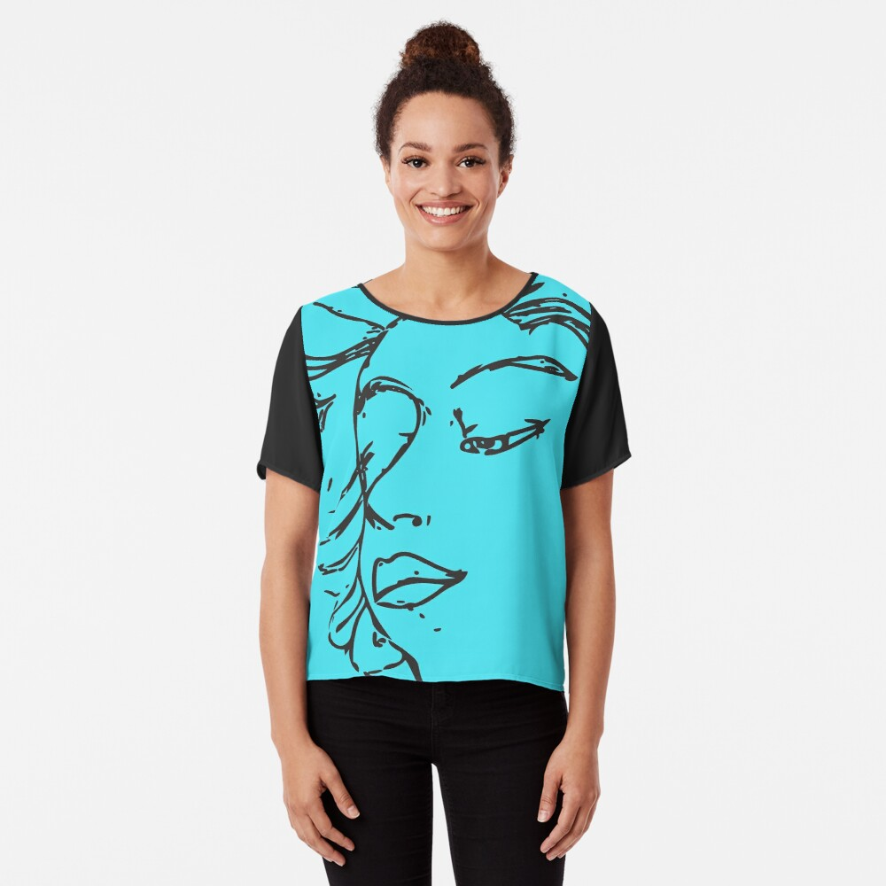 Woman Looking Down Chiffon Top