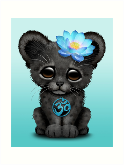 «Zen pantera negra con símbolo de yoga azul om» de jeff bartels