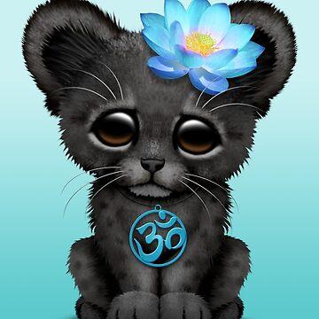 Zen pantera negra con símbolo de yoga azul om de JeffBartels