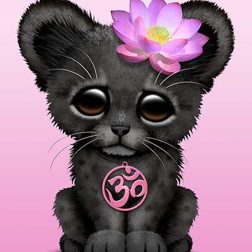 Zen pantera negra con símbolo de yoga rosa om de JeffBartels