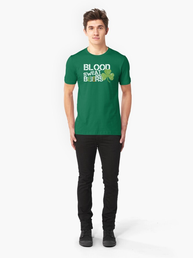 Alternate view of Blood Sweat Beers Ireland Flag Rugby Six Nations Slim Fit T-Shirt