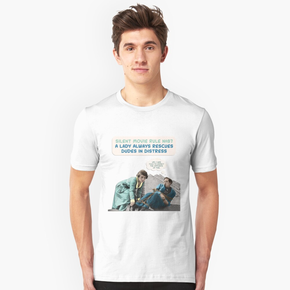 Silent Movie Dude in Distress Unisex T-Shirt Front