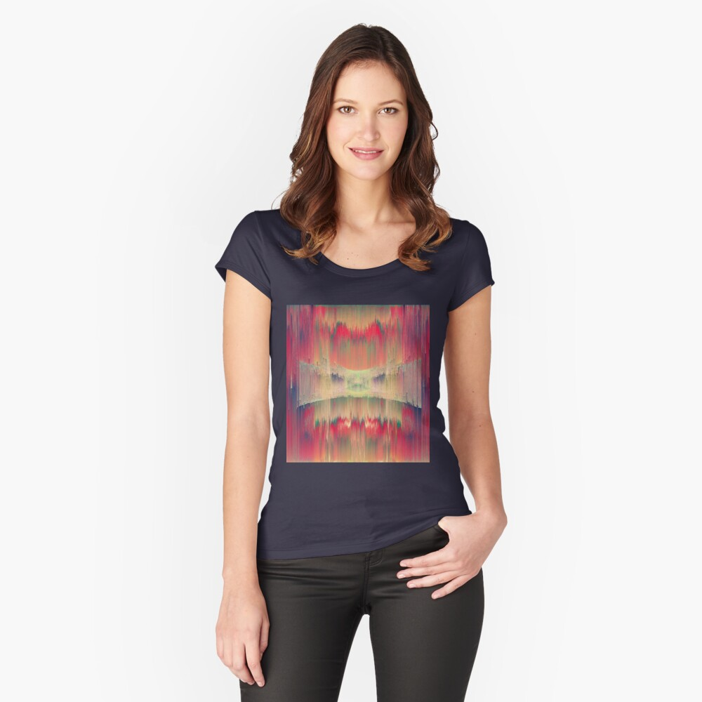 Abstract Hidden Ninja cat is hiding in sound waves Fitted Scoop T-Shirt