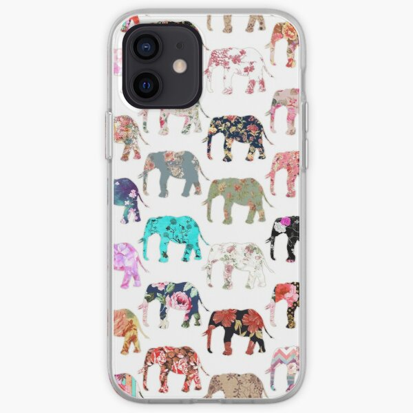 Girly Whimsical Retro Floral Elephants Pattern iPhone Soft Case