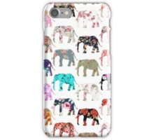 Girly Whimsical Retro Floral Elephants Pattern iPhone Case/Skin