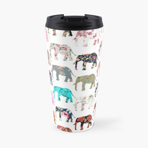 Girly Whimsical Retro Floral Elephants Pattern Travel Mug