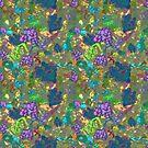 Purple grapes, green flowers by hdettman