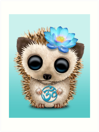 «Bebé erizo zen con símbolo de yoga azul om» de jeff bartels