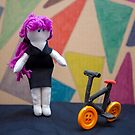 Purple haired woman with bike by vannaweb