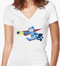 The Blue Bomber (man) Women's Fitted V-Neck T-Shirt