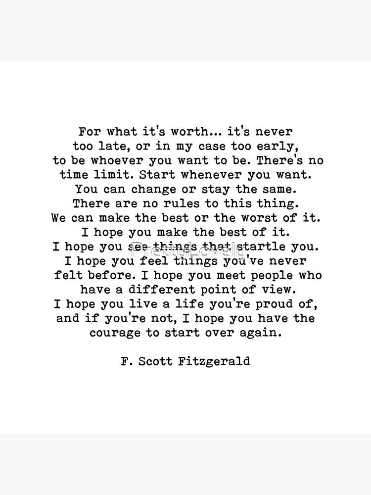 Für was es wert ist, F Scott Fitzgerald-Zitat von PrettyLovely