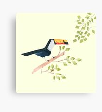 Low poly watercolor - Toucan Canvas Print