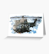 Helicopter Gunship with background  Greeting Card