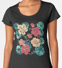 Watercolor Garden Nasturtiums. Dark Floral Pattern Women's Premium T-Shirt
