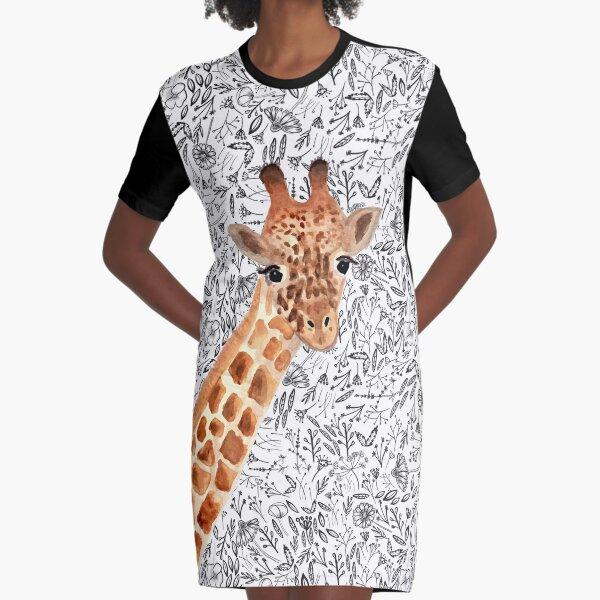 Watercolor Giraffe Graphic T-Shirt Dress