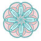 Blaue Pastellblau-Minze-Knickenten-korallenrote rosa Blumenmandala mit ausgebogten Rändern auf weißem / einfachem Hintergrund von Jenndoodles