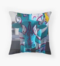 Painted Cow by Cathedral Youth, Ebrington Square Derry Throw Pillow