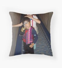 Two Kids Dressed up for A Pirate Night. Throw Pillow