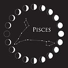 Pisces Zodiac Sign with Moon Phases by Ryan McGurl