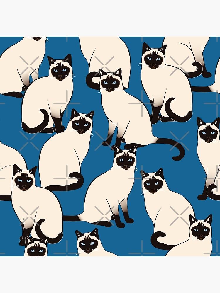 Siamese Cats on dark blue by nadyanadya