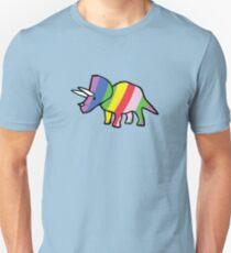 Regenbogen Triceratops Slim Fit T-Shirt