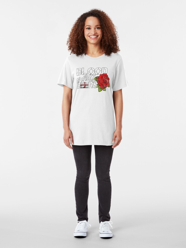Alternate view of Blood Sweat Beers England Flag Rugby Six Nations  Slim Fit T-Shirt