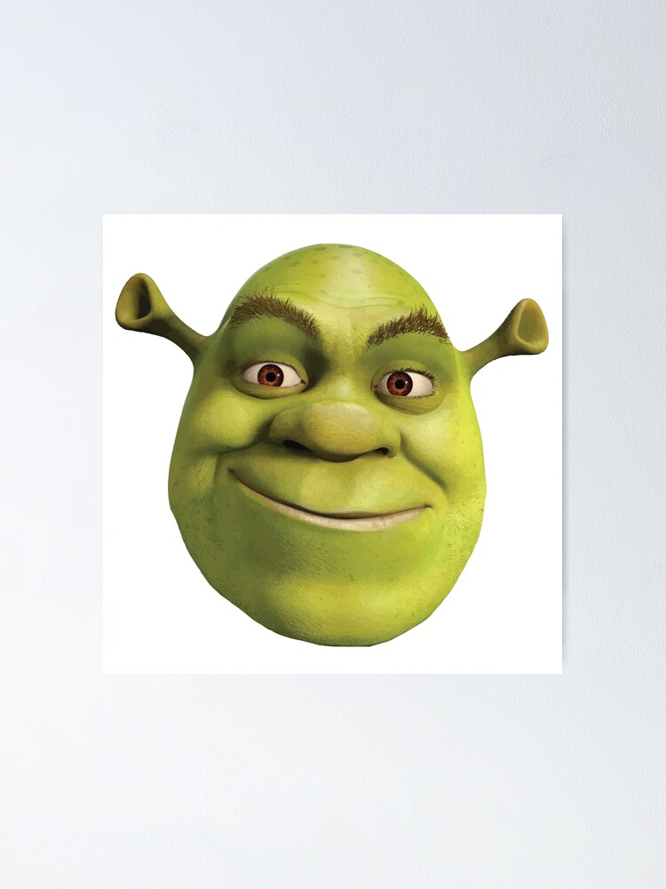 Shrek Face Poster By Spider Mayne Redbubble