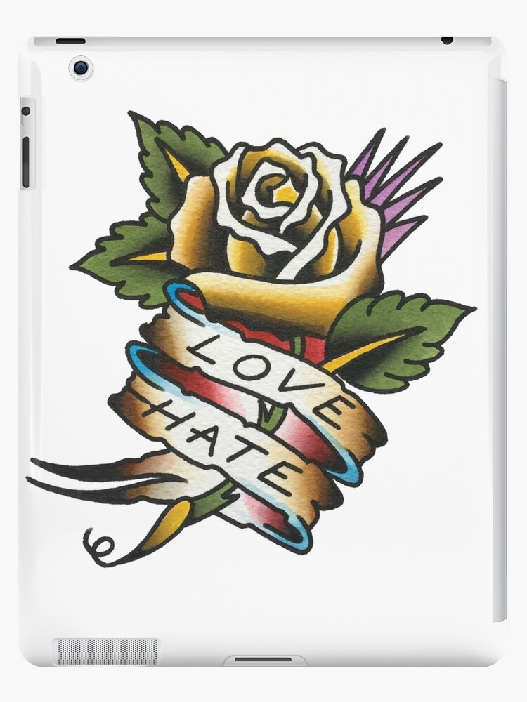 Traditional Love Hate Rose Tattoo Design Ipad Caseskin By Forever True Tattoo