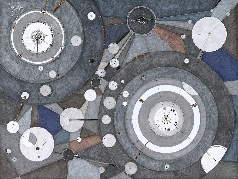 Singularity Fugue, ink and mixed media on paper by Regina Valluzzi