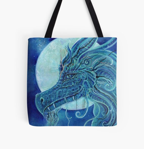 The blue dragon portrait All Over Print Tote Bag