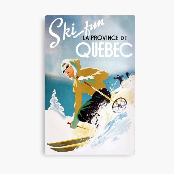 Vintage ski poster, woman skiing in Quebec Canvas Print