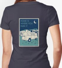 VW Bay Window Bus - Home Is Where You Park It Women's Fitted V-Neck T-Shirt