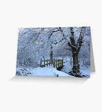 snowy bridge at Longshaw Greeting Card