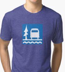 VW Bay Window Bus Camping Tri-blend T-Shirt