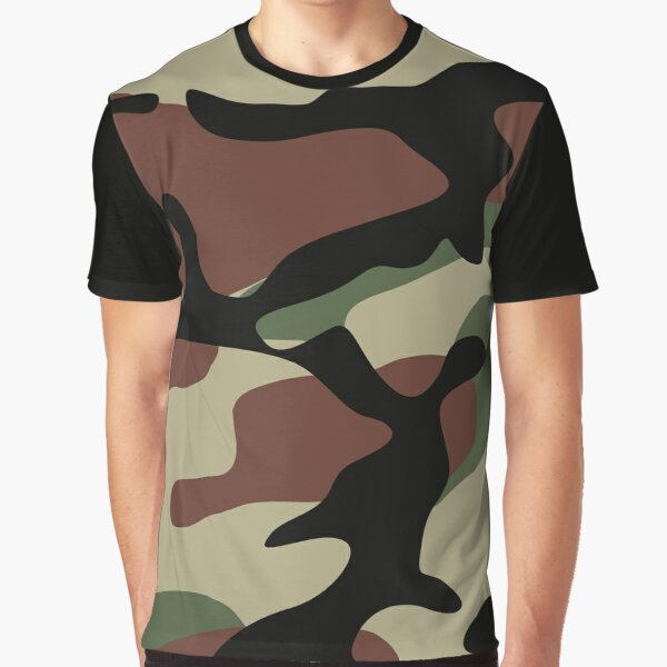 Military Camouflage Pattern Graphic T-Shirt