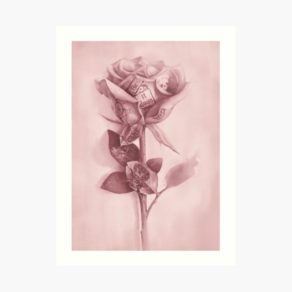 Eine seltene Rose Kunstdruck