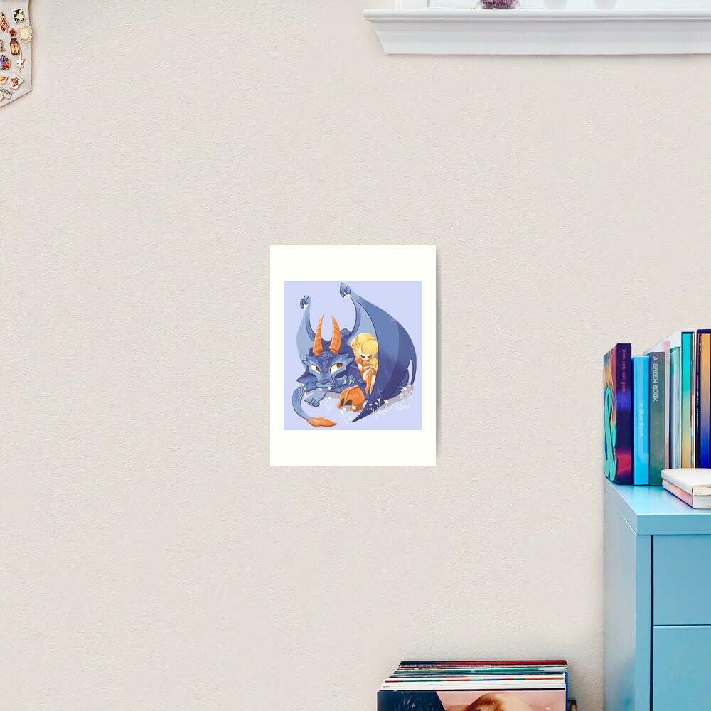 Impression artistique «Dragon violet mignon»