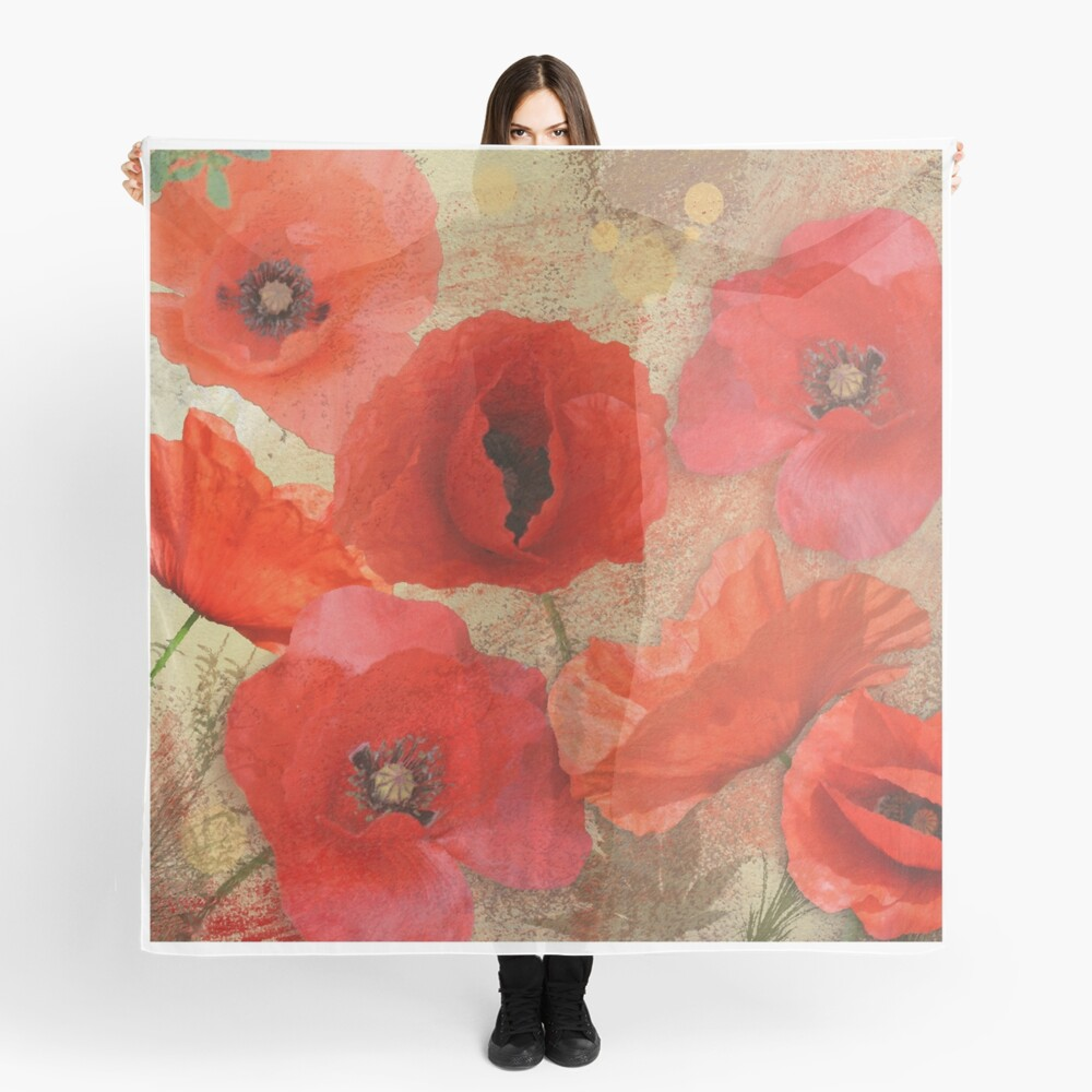 Red as poppies can be Scarf